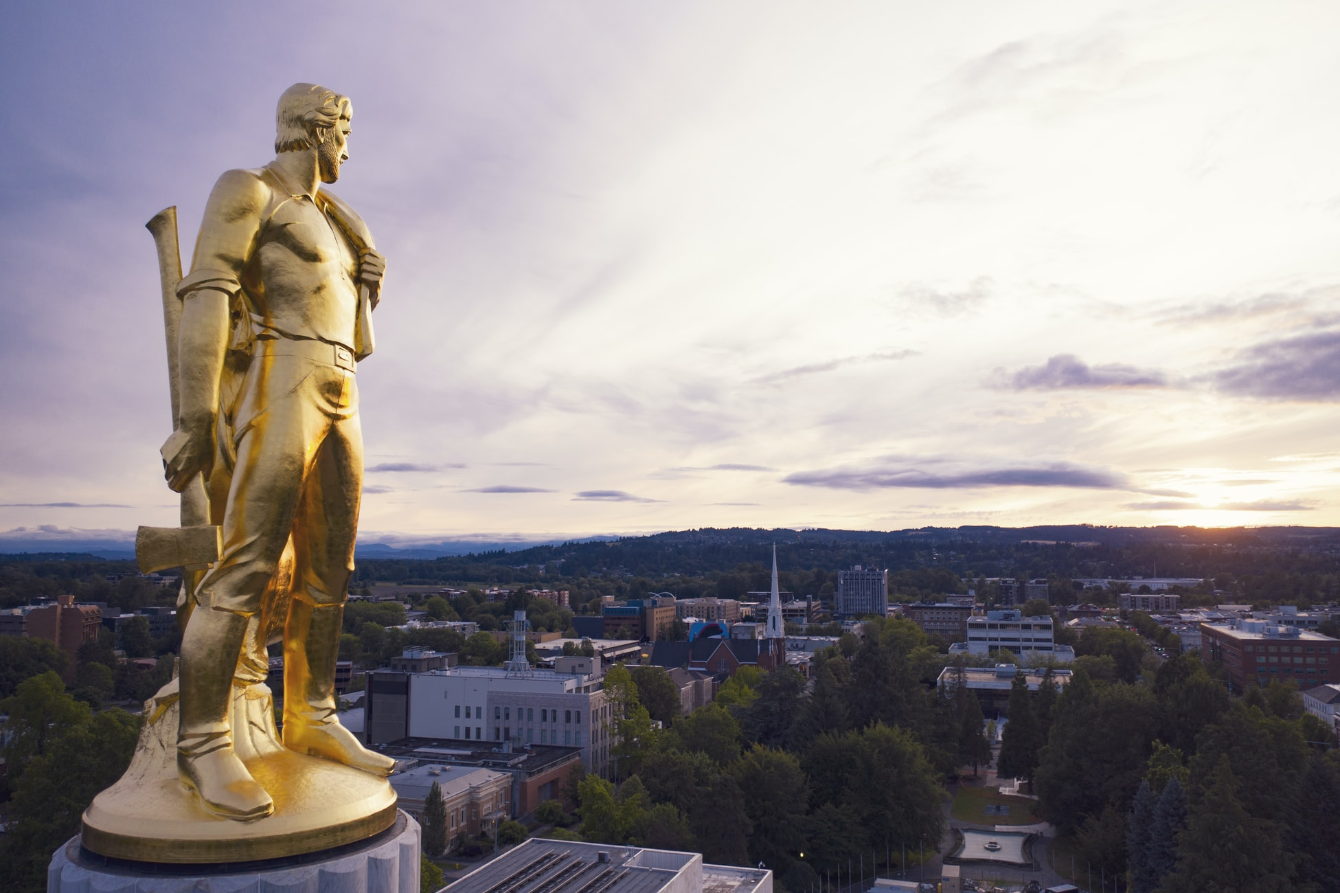 Oregon Statue Gold Pioneer in Salem near the Courthouse